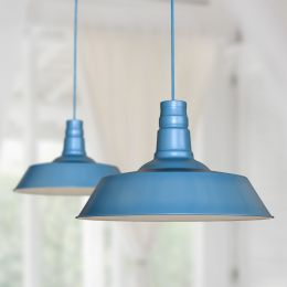 Large Argyll Industrial Pendant Light Aston Blue