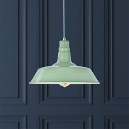 Large Argyll Industrial Pendant Light Chalk Green