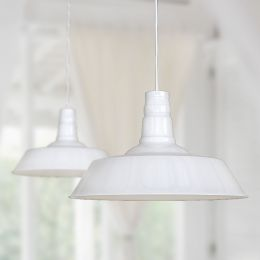 Large Argyll Industrial Pendant Light Pure White