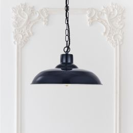 Portland Reclaimed Style Industrial Pendant Light Squid Ink Blue
