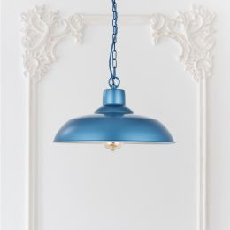 Portland Reclaimed Style Industrial Pendant Light Aston Blue