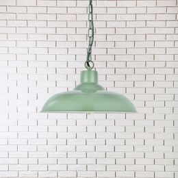 Portland Reclaimed Style Industrial Pendant Light Chalk Green