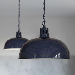 Berwick Rustic Dome Pendant Light Squid Ink Blue