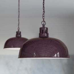 Berwick Rustic Dome Pendant Light Mulberry Red