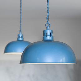 Berwick Rustic Dome Pendant Light Aston Blue