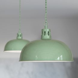 Berwick Rustic Dome Pendant Light Chalk Green