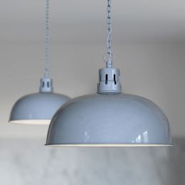 Berwick Rustic Dome Pendant Light French Grey