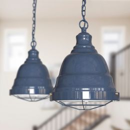 Ganton Vintage Cage Pendant Light Leaden Grey