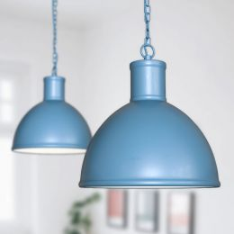 Wardour Industrial Bay Pendant Light Aston Blue