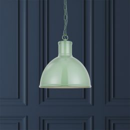 Wardour Industrial Bay Pendant Light Chalk Green