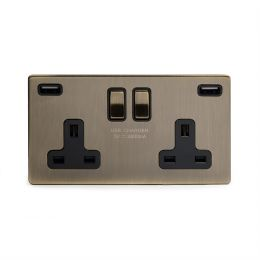 Antique Brass Fast Charge USB Socket