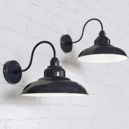 Portland Reclaimed Style Wall Light Squid Ink Blue