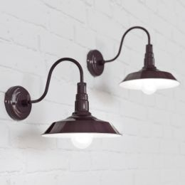 Argyll Industrial Wall Light Mulberry Red