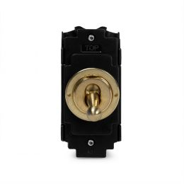Soho Lighting Brushed Brass 2 Way and Off Toggle Grid Module  Screwless