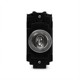 Soho Lighting Brushed Chrome Flat Plate 2 Way and OffᅠRetractive Toggle Grid Switch Module