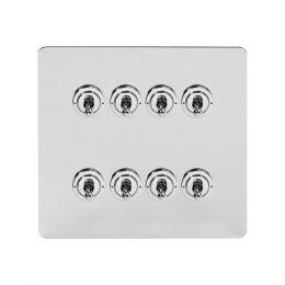 Soho Lighting Polished Chrome Flat Plate 8 Gang Toggle Light Switch 20A 2 Way Screwless