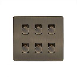 Soho Lighting Antique Brass 6 Gang 2 Way Intelligent Trailing Dimmer Switch Screwless
