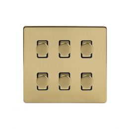 Soho Lighting Brushed Brass 6 Gang 2 Way Intelligent Trailing Dimmer Switch Screwless
