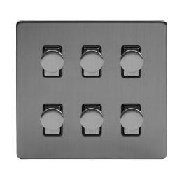 Soho Lighting Brushed Chrome 6 Gang 2 Way Intelligent Trailing Dimmer Switch Screwless