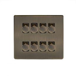 Soho Lighting Antique Brass 8 Gang 2 Way Intelligent Trailing Dimmer Switch Screwless