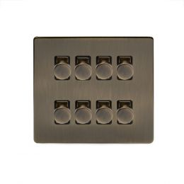 Soho Lighting Antique Brass 8 Gang 2 Way Intelligent Trailing Dimmer Switch Screwless