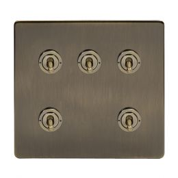 Soho Lighting Antique Brass 5 Gang Toggle Light Switch 20A 2 Way Screwless