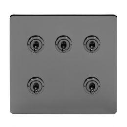 Soho Lighting Black Nickel 5 Gang Toggle Light Switch 20A 2 Way Screwless