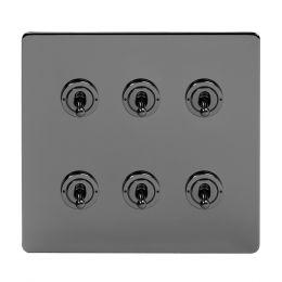 Soho Lighting Black Nickel 6 Gang Toggle Light Switch 20A 2 Way Screwless