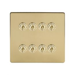 Soho Lighting Brushed Brass 8 Gang Toggle Light Switch 20A 2 Way Screwless