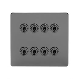Soho Lighting Black Nickel 8 Gang Toggle Light Switch 20A 2 Way Screwless
