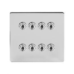 Soho Lighting Polished Chrome 8 Gang Toggle Light Switch 20A 2 Way Screwless