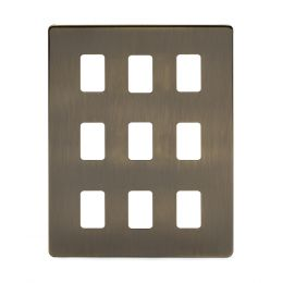 Soho Lighting Antique Brass 9 Gang Grid Plate Screwless
