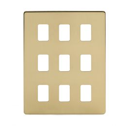 Soho Lighting Brushed Brass 9 Gang Grid Plate  Screwless