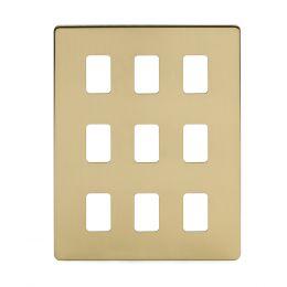 Soho Lighting Brushed Brass 9 Gang Grid Plate  Screwless