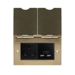 Soho Lighting Brushed Brass Screwless Double Floor Outlet 13Amp Socket & USB Charger - Blk Ins