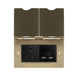 Soho Lighting Brushed Brass Screwless Double Floor Outlet 5Amp Socket & USB Charger - Blk Ins