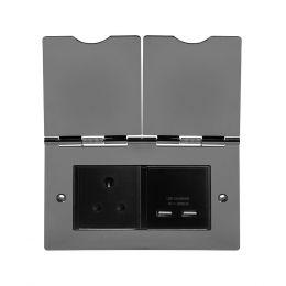 Soho Lighting Black Nickel Screwless Double Floor Outlet 5Amp Socket & USB Charger