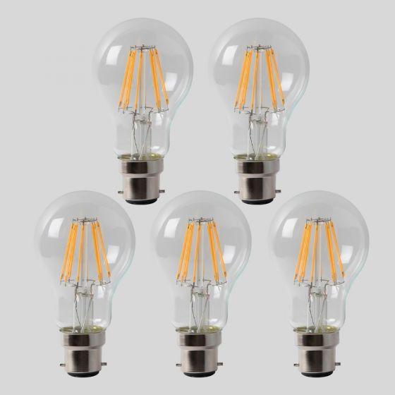 5 Pack - 8w B22 GLS LED Light Bulb 3000K Standard Straight Filament Dimmable