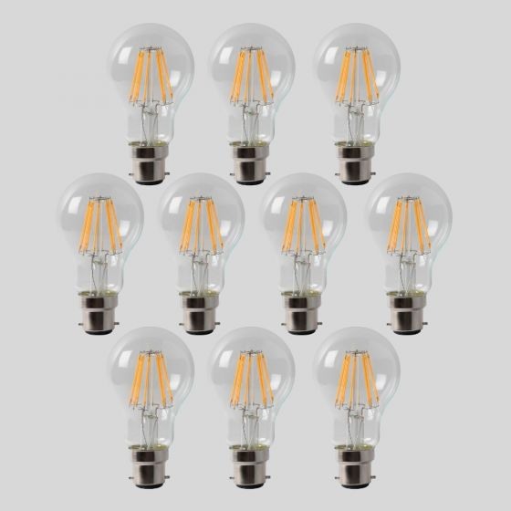 10 Pack - 8w B22 GLS LED Light Bulb 3000K Standard Straight Filament Dimmable