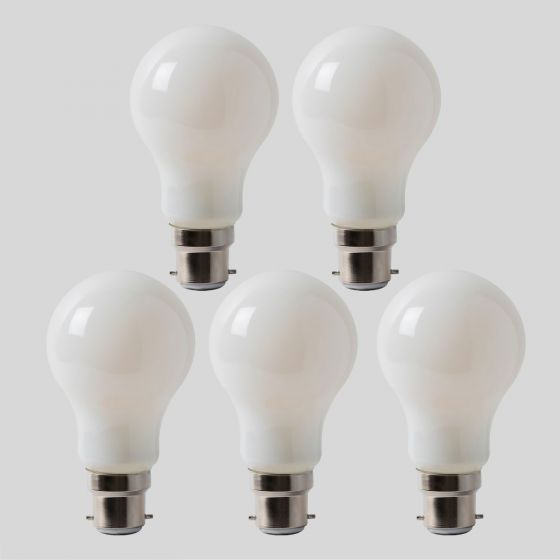 5 Pack - 8w B22 Opal GLS LED Light Bulb 3000K Warm White Dimmable