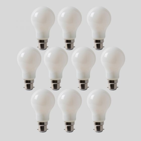 10 Pack - 8w B22 Opal GLS LED Light Bulb 4100K Horizon Daylight Dimmable