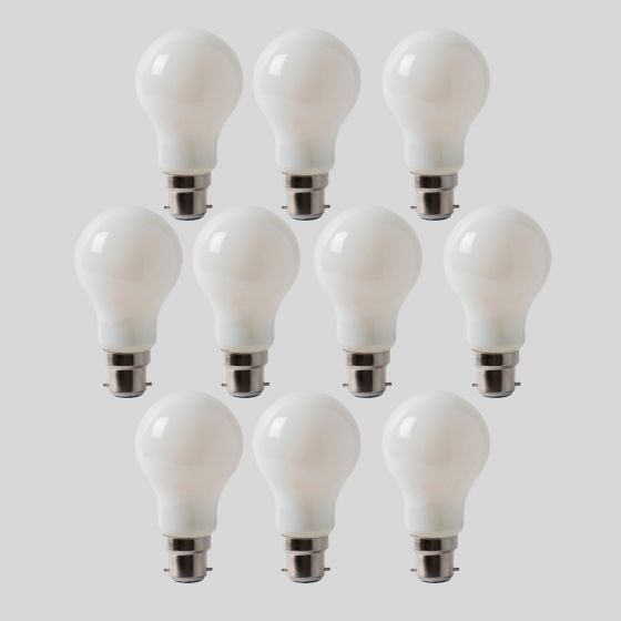 10 Pack - 8w B22 Opal GLS LED Light Bulb 3000K Warm White Dimmable