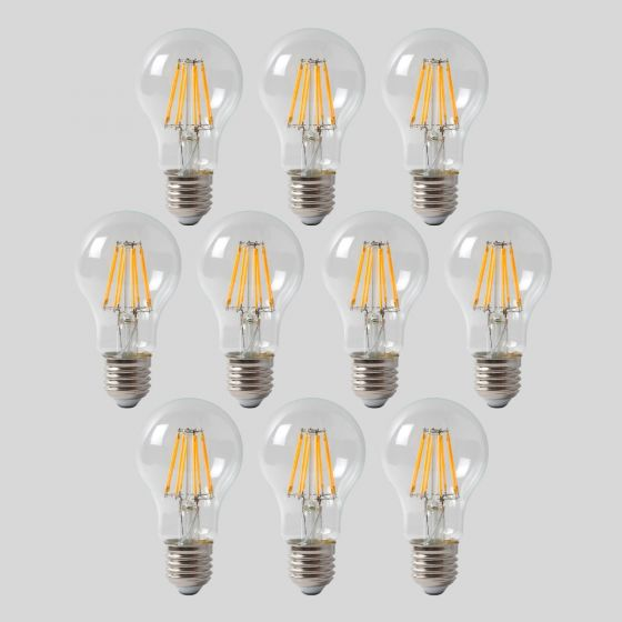 10 Pack - 8w E27 GLS LED Light Bulb 4100K Standard Straight Filament Dimmable ES Edison Screw