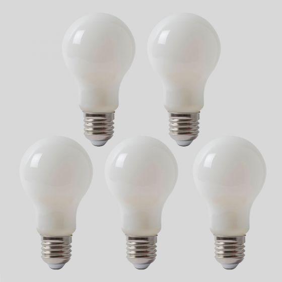 5 Pack - 8w E27 ES Opal GLS LED Light Bulb 3000K Warm White Dimmable