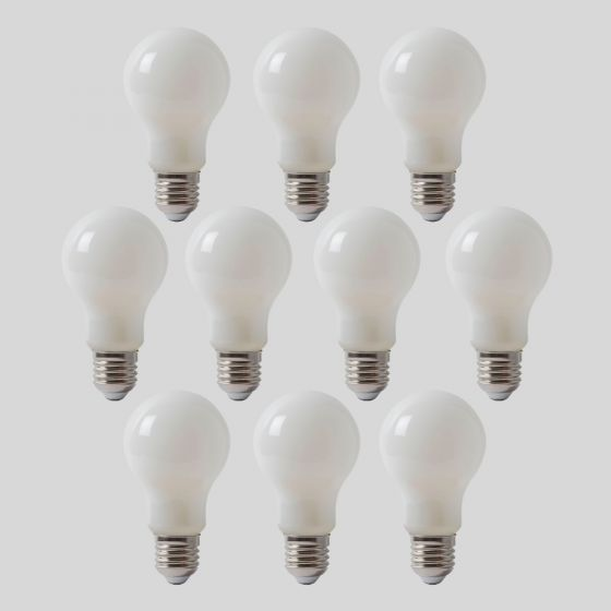10 Pack - 8w E27 ES Opal GLS LED Light Bulb 3000K Warm White Dimmable
