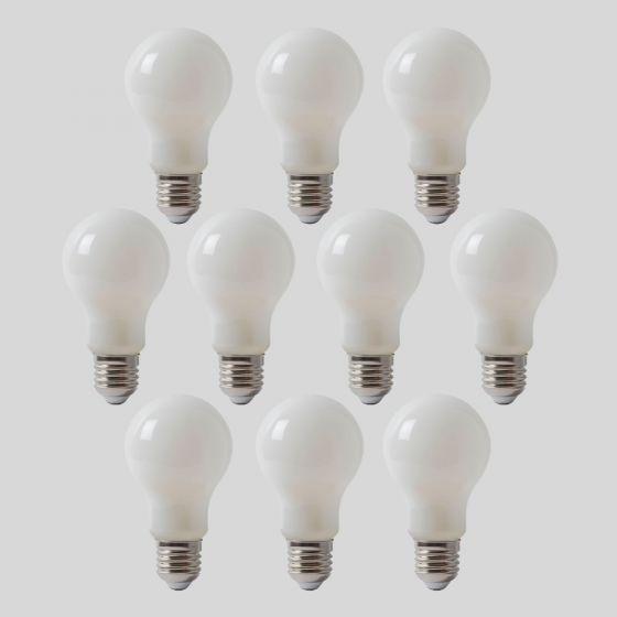 10 Pack - 8w E27 ES Opal GLS LED Light Bulb 4100K Horizon Daylight Dimmable