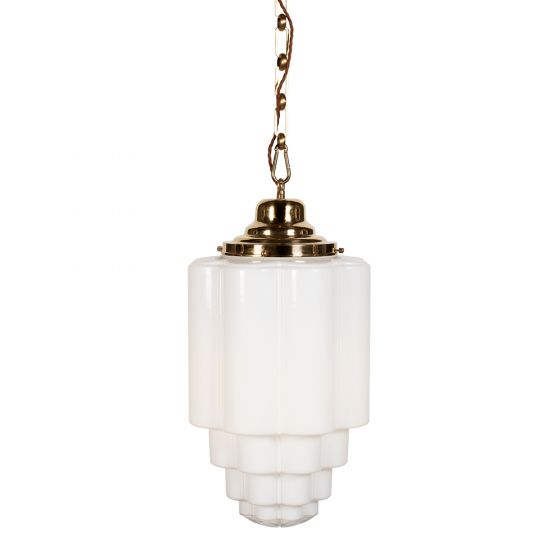 Glasshouse Polished Brass Opal Art Deco Pendant Light - the Schoolhouse Collection
