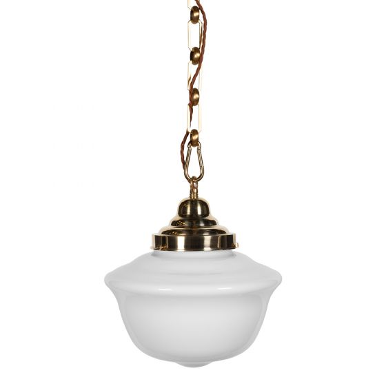 Frith Brass Opaque Pendant Light - The Schoolhouse Collection