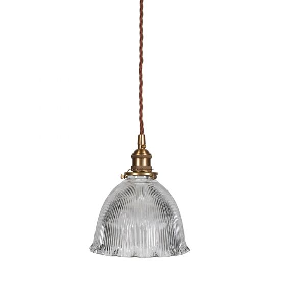 D'Arblay Brass Scalloped Prismatic Glass Dome Pendant Light - The French Collection