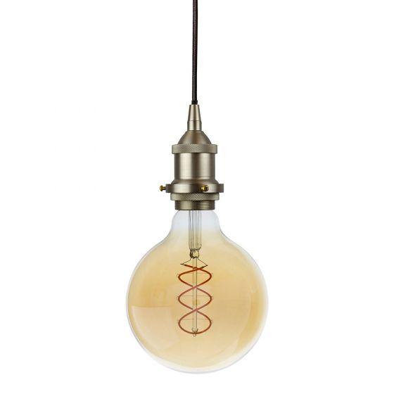 Soho Lighting Brushed Chrome Decorative Bulb Holder with Round Black Cable